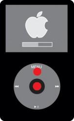 iPodのリセット。MENUボタンと選択ボタンを同時に6~10秒押す