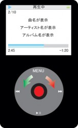 iPod再生中の基本画面・音量調整ができます。