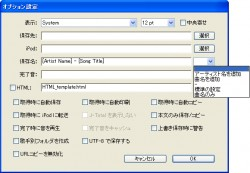 Lyrics Masterのオプション設定画面