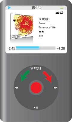 iPod classicの再生中の基本画面・音量調整ができます。