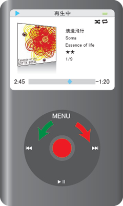 iPod classicの再生位置画面