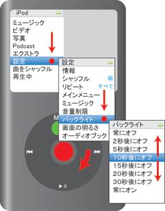 iPod classicの節電(バックライト)設定