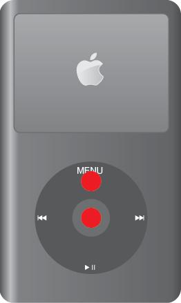 iPod classicの再起動。MENUボタンと選択ボタンを同時に6~10秒押す