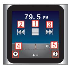 iPod nano [第6世代] ラジオ のメイン画面