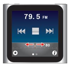 iPod nano [第6世代] ドラッグしてラジオ局を選局