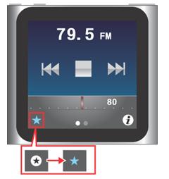 iPod nano [第6世代] ラジオ局を[よく使う項目]に登録