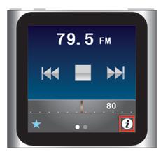 iPod nano [第6世代] ラジオで[i]アイコンをタップし[よく使う項目]へ