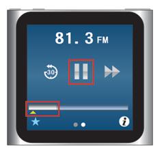 iPod nano [第6世代] 一時停止ボタンでライブポーズ