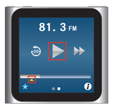 iPod nano [第6世代] ドラッグで再生した場所を選択