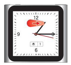 スリープ→時計からフリックでiPod nano 第6世代 の元の画面に