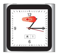iPod nano 第6世代 時計を左にフリックするとストップウォッチが利用できます。