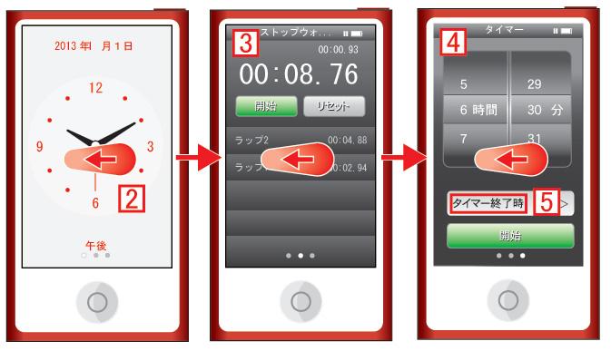 iPod nano 第7世代 タイマーやストップウォッチに切り替える
