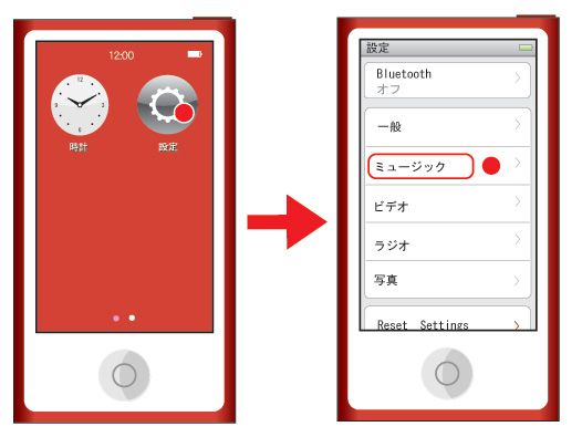 iPod nano 第7世代 設定→ミュージック→シャッフル