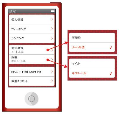 iPod nano 第7世代 フィットネスApp 単位変更