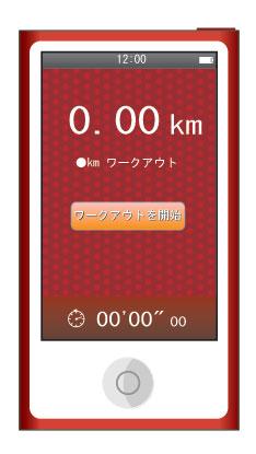 距離を表示したワークアウト画面