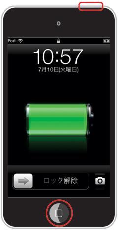 iPod touchのスリープボタンとホームボタンを同時に押します。