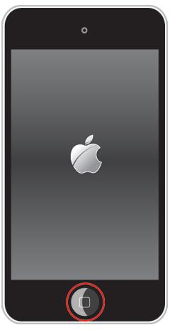 iPod touchで電源を入れながらホームボタンを押し続けるとリカバリーモードで起動