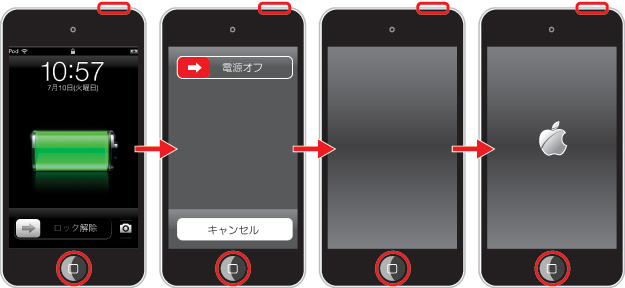 iPod touchを再起動する